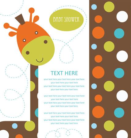 jirafa cute: ducha de beb� con la jirafa linda. ilustraci�n vectorial