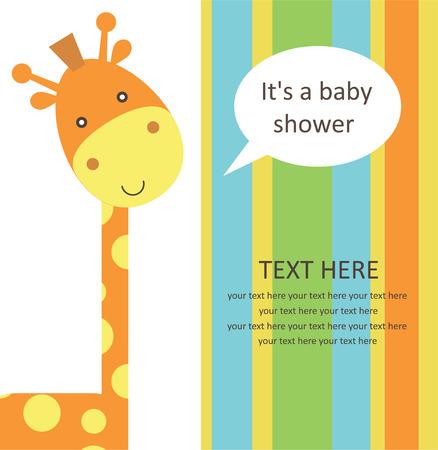 fiúk: baba zuhany aranyos zsiráf. vektoros illusztráció