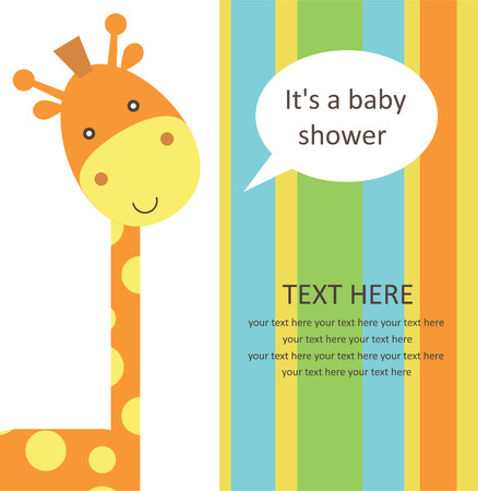 baby shower with cute giraffe. vector illustration 矢量图像