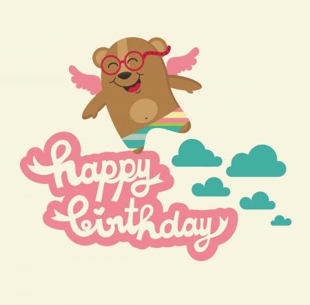 angel birthday: cute happy birthday card with nice bear. vector illustration