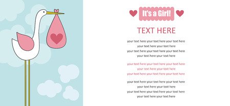 cute baby girl arrival card  illustration