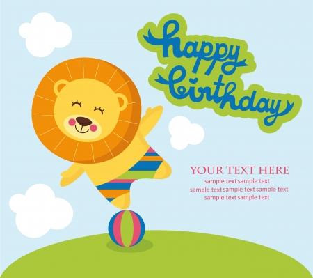 cute happy birthday card with nice lion. vector illustration Vector