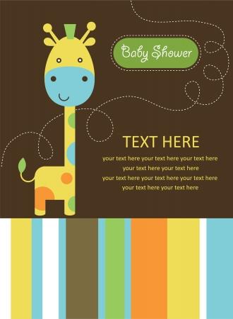 cartoon baby boy: cute baby shower card with cute giraffe. vector illustration