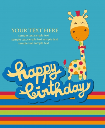 birthday present: cute happy birthday card with nice giraffe. vector illustration