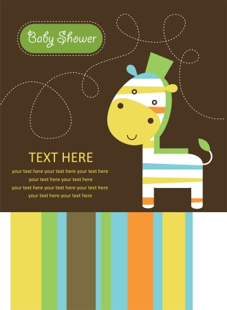 cute baby shower card with cute zebra. vector illustration Vector