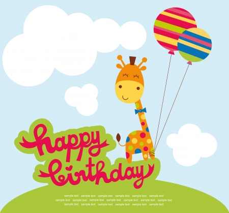 clouds cartoon: cute happy birthday card with nice giraffe. vector illustration