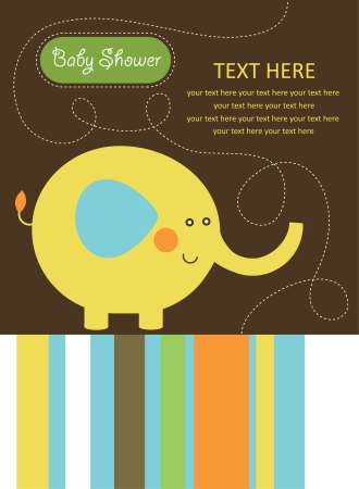 cute baby shower card with cute elephant. vector illustration Vector