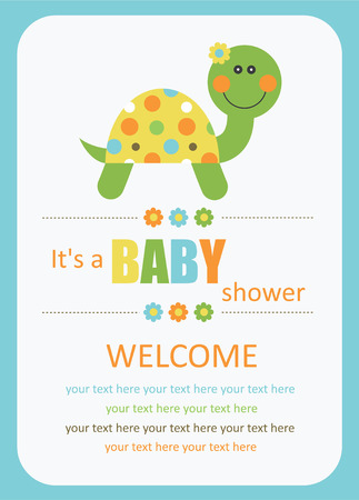 baby shower yellow: cute baby shower card with cute turtle. vector illustration Illustration