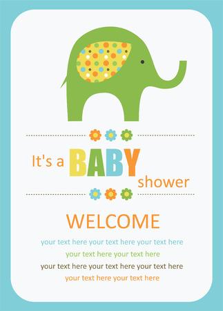 fiúk: aranyos baba zuhany kártya aranyos elefánt. vektoros illusztráció