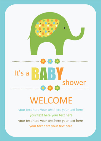 cute baby shower card with cute elephant. vector illustration Иллюстрация