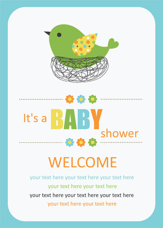 cute baby shower card with cute bird. vector illustration Vector