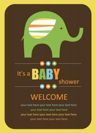 cute baby shower card with cute elephant. vector illustration Vector