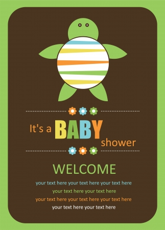 cute baby shower card with cute turtle. vector illustration Vector