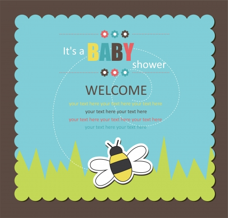 stylish boy: baby shower card with cute bee. vector illustration