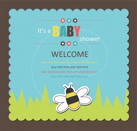 invitacion baby shower: Tarjeta de Baby Shower con la abeja linda. ilustraci�n vectorial