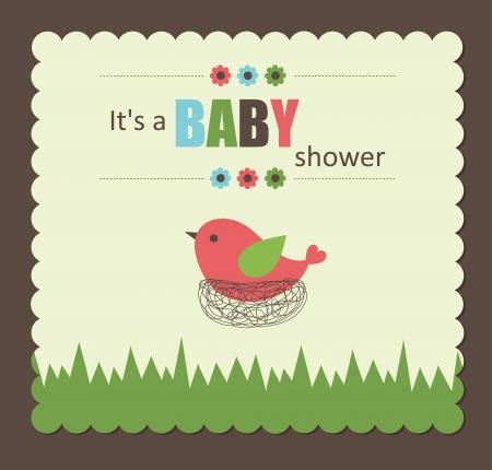 Bébé carte de douche avec l'oiseau mignon. illustration vectorielle Banque d'images - 22589338