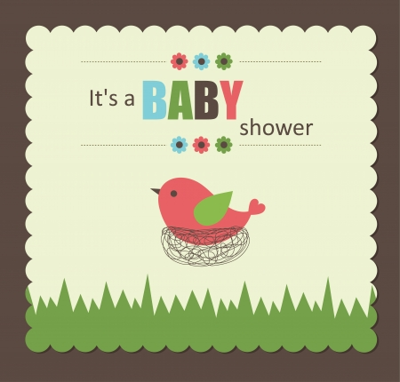 baby card: baby shower card with cute bird. vector illustration