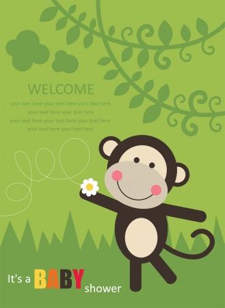 Tarjeta de Baby Shower con el mono lindo. ilustración vectorial