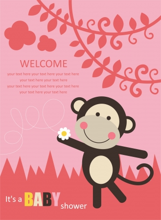 baby shower with fun monkey. vector illustration Vector