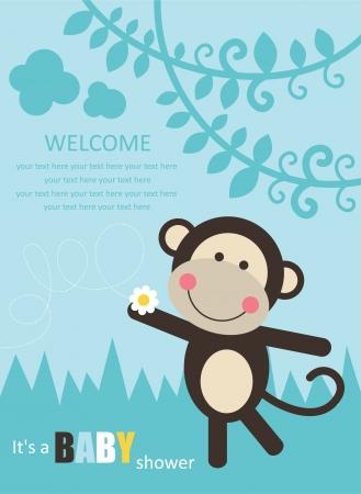 baby boy shower: baby shower with fun monkey. vector illustration Illustration