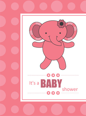cute baby girl announcement card with elephant. vector illustration Vector