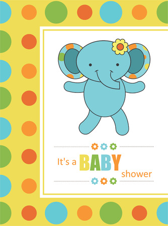 baby shower with cute elephant. vector illustration Vector