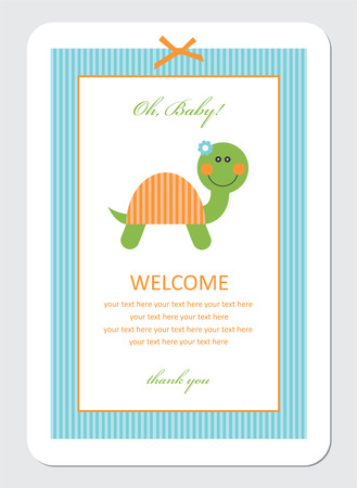 baby shower card with cute turtle. vector illustration Vector