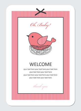 cute baby girl shower with bird. vector illustration Vector