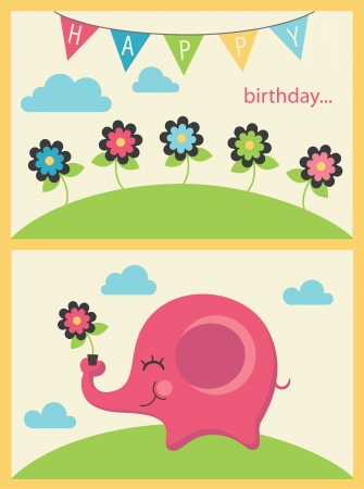 cute happy birthday card. vector illustration Vector
