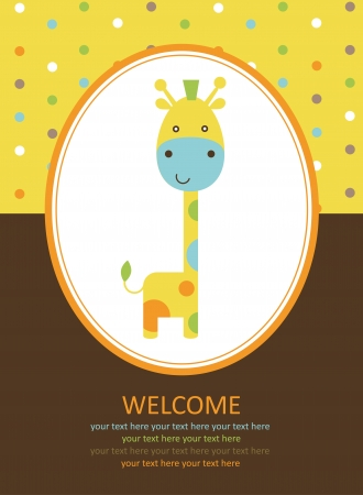 cute card with giraffe. vector illustrationn 矢量图像