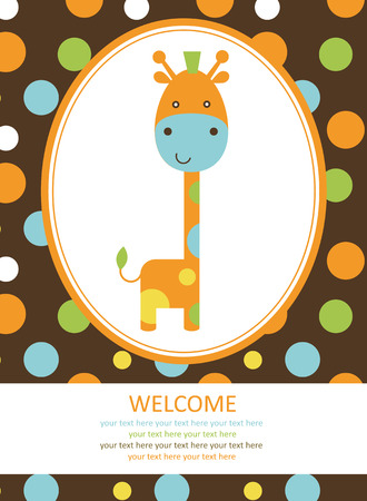 cute baby girls: cute card with giraffe. vector illustration