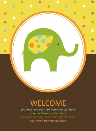 cute card with elephant. vector illustration Stock Vector - 22590526