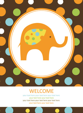 baby shower yellow: cute card with elephant. vector illustration