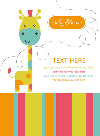and invites: cute card with giraffe. vector illustration
