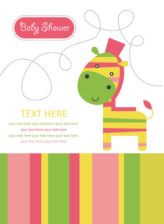 cute card with zebra. vector illustration Vector