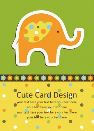 cute baby card with nice elephant. vector illustration Иллюстрация