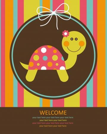 amarillo: Tarjeta linda del bebé con bonita tortuga. ilustración vectorial Vectores