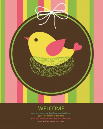 cute baby card with nice bird. vector illustration Vector