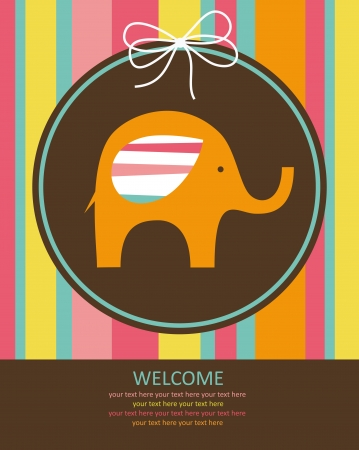 cute baby card with nice elephant. vector illustration Stock Vector - 22590600