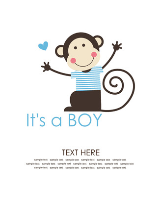 cute baby boy shower with fun monkey. vector illustration Vector