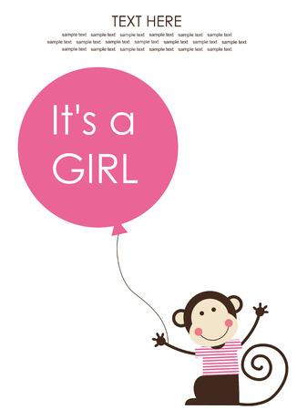 baby monkey: cute baby girl shower with fun monkey. vector illustration Illustration