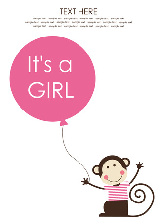 cute baby girl shower with fun monkey. vector illustration Illustration