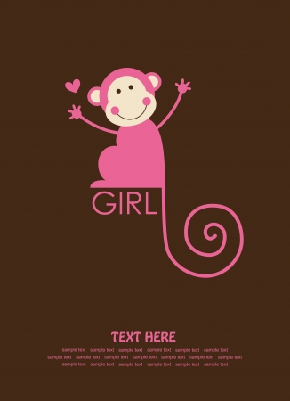 cute baby girl shower with fun monkey. vector illustration Vector