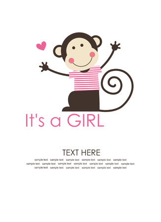 cute baby girl shower with fun monkey. vector illustration 矢量图像