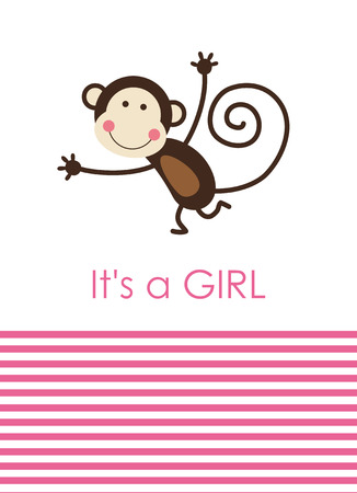 cute baby girl shower with fun monkey. vector illustration Stock Vector - 22590758