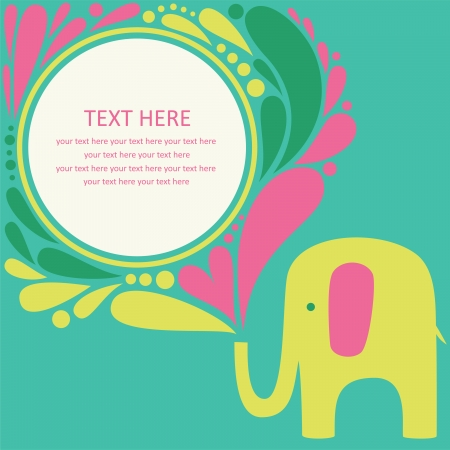 cute greeting card with elephant. vector illustration Vector