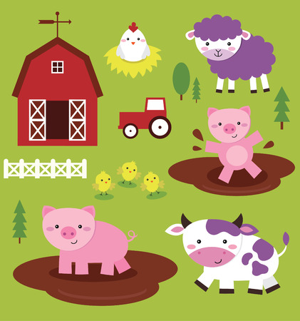 fun farm animals collection. vector illustration Vector