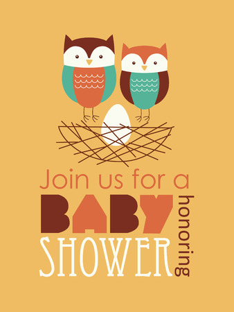 honoring: baby shower with cute owl family. vector illustration