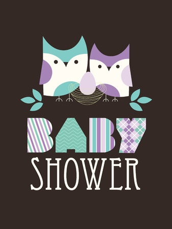 baby shower with cute owl family. vector illustration Vector