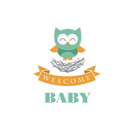 girl illustration: dise�o de la tarjeta de bienvenida al beb�. ilustraci�n vectorial Vectores